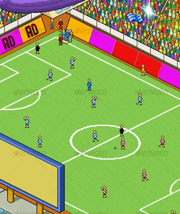 Pixel-Art Football Stadium - Scenes Illustrations