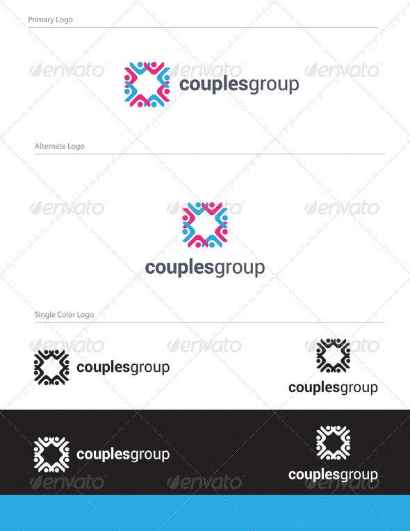 Couples Group Logo Design - HUM-005 - Humans Logo Templates