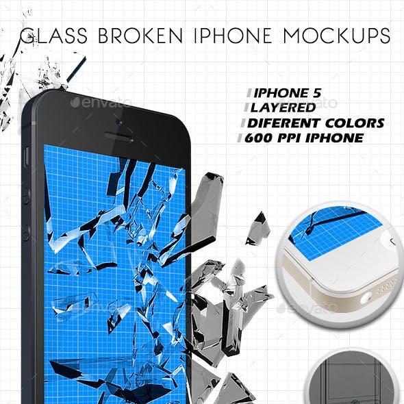 New Glass Broken Iphone Mockups