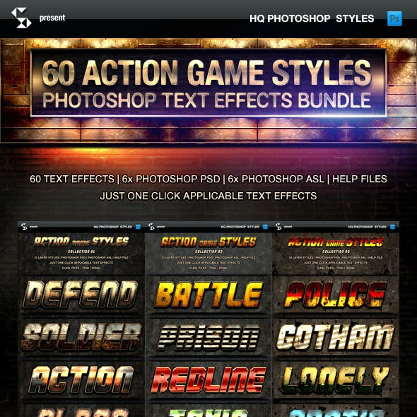 Action Game Styles Bundle - 60 Text Effects