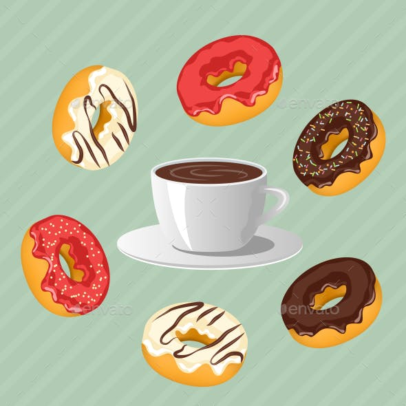 Donuts with Cup of Coffee on Blue Background