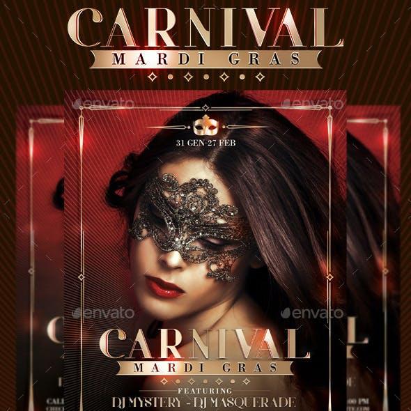 Mardi Gras Masquerade Carnival Flyer