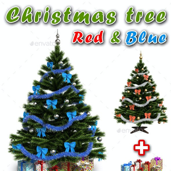Christmas Tree (Red and Blue) + Gifts