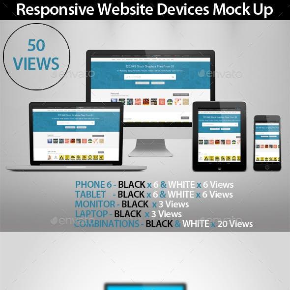 50 Responsive Website Devices Mock Ups