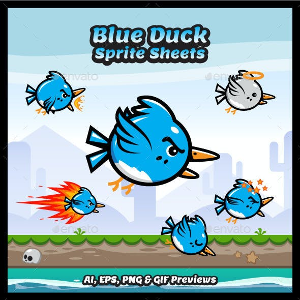 Flappy Blue Duck Sprite Sheets