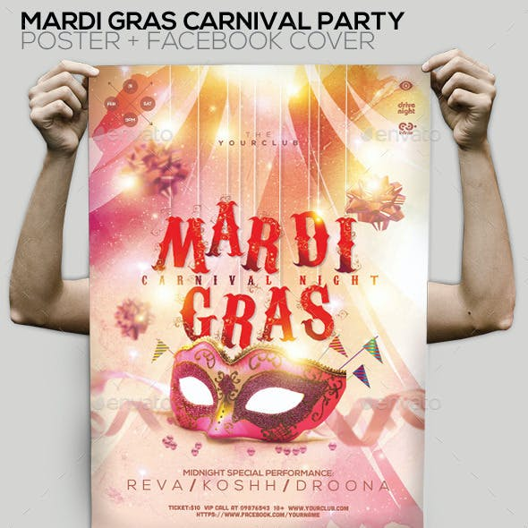 Mardi Gras Carnival Party Flyer/Poster/Facebook