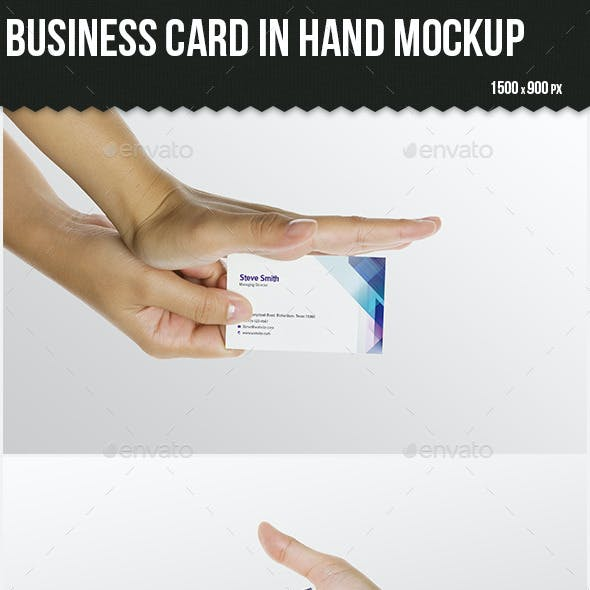 Business Card in Hand Mock-up