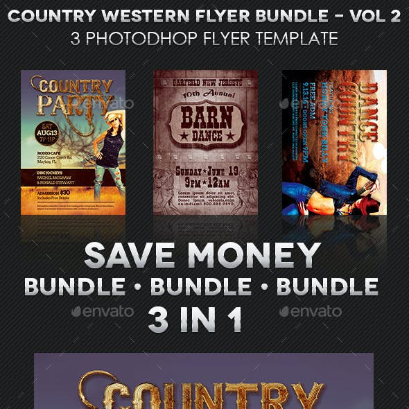 Country Western Flyer Template Bundle: Vol 2