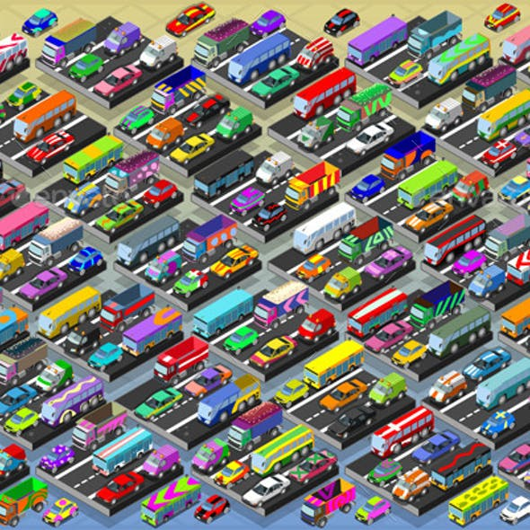 Isometric Cars, Buses, Trucks and Vans Collection
