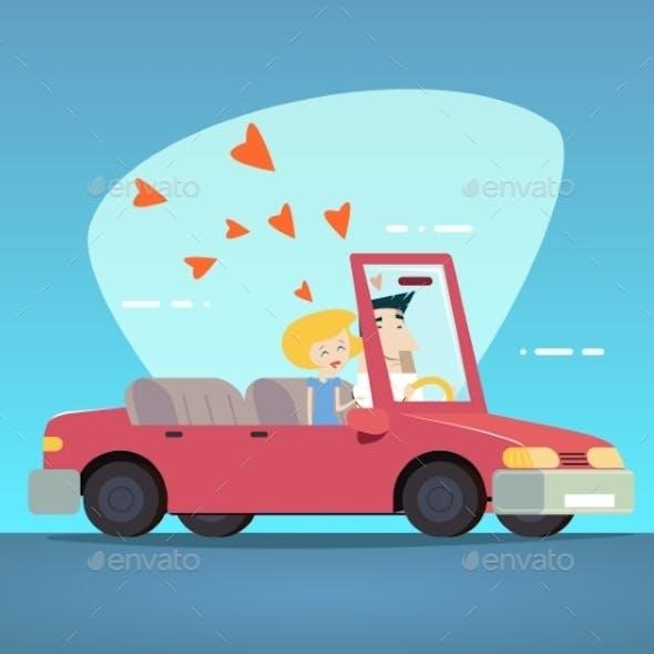 Cartoon Convertible Car Couple