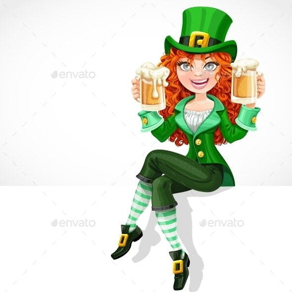 Red-Haired Girl Leprechaun Sitting - Seasons/Holidays Conceptual