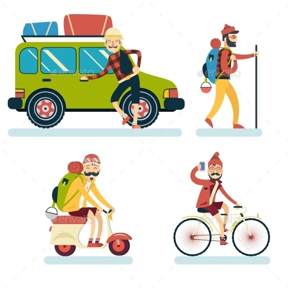 Geek Hipster Character Travelling - Travel Conceptual