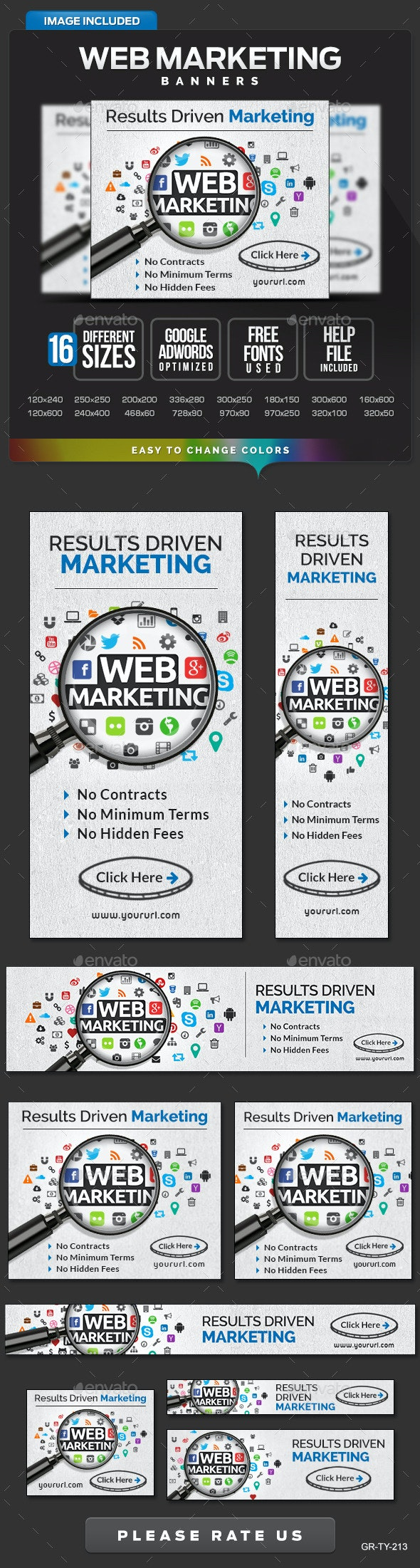 Web Marketing Banners - Banners & Ads Web Elements