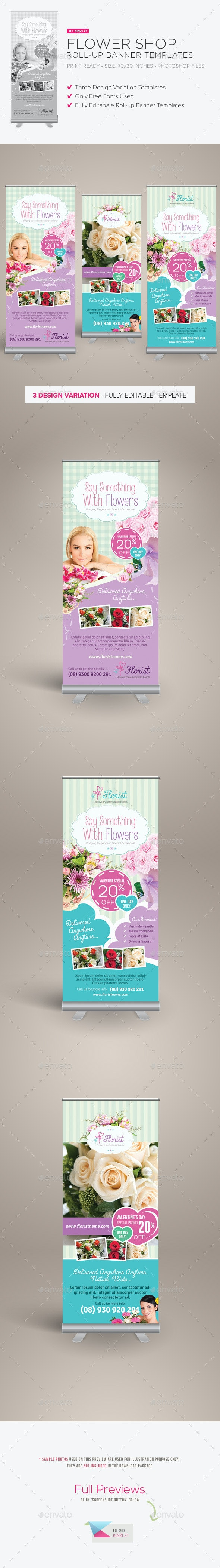 Flower Shop Roll-up Banners - Signage Print Templates