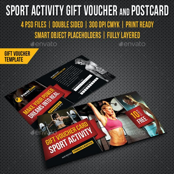 Sport Activity Gift Voucher and Postcard V01