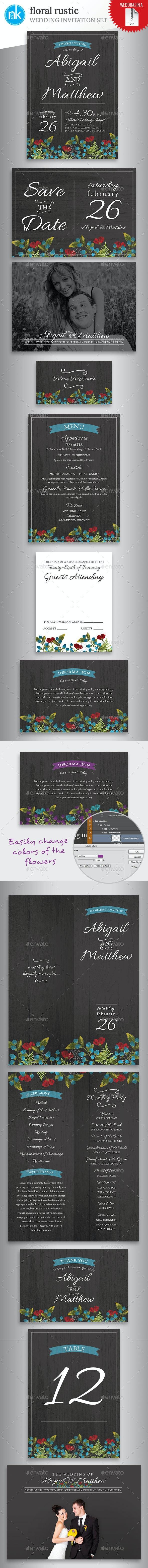 Floral Rustic Wedding Invitation Set - Weddings Cards & Invites
