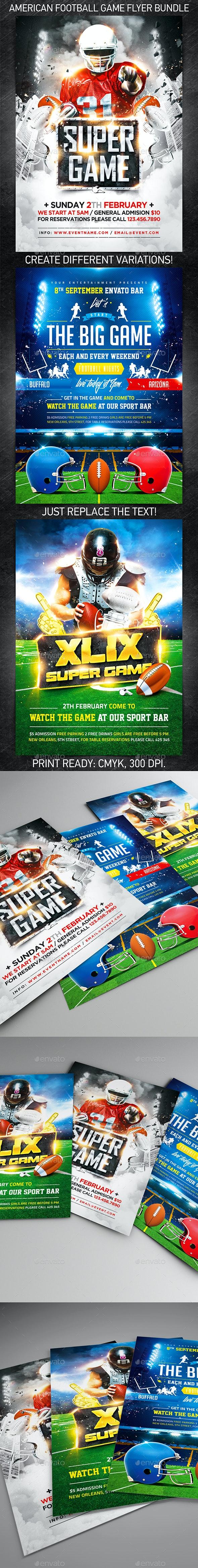 American Football Game Flyer Bundle - Flyers Print Templates