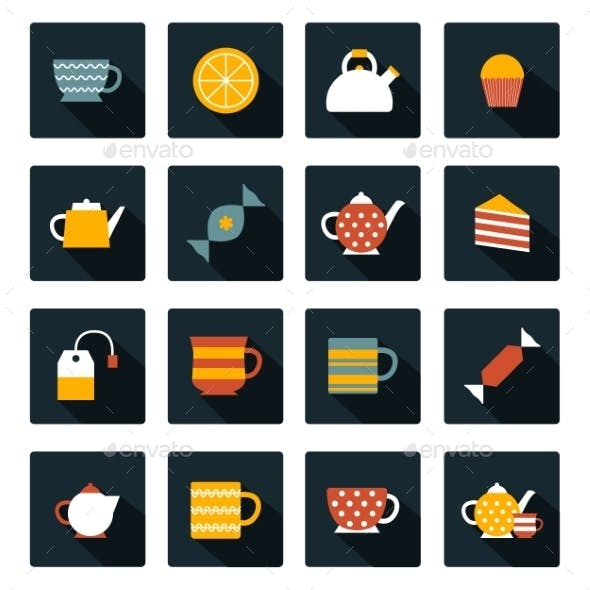 Set of Flat Tea Time Icons