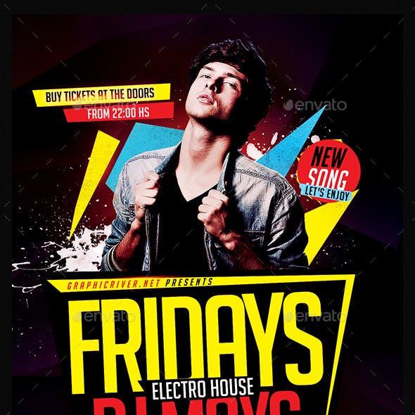 Fridays Electro House   Flyer Template PSD