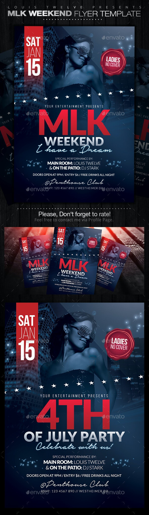 MLK Weekend or 4th of July Party Flyer - Clubs & Parties Events