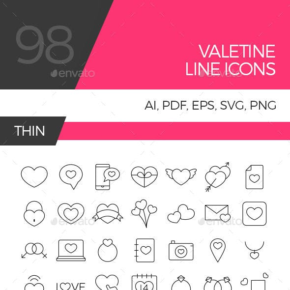 Valentine line icon set
