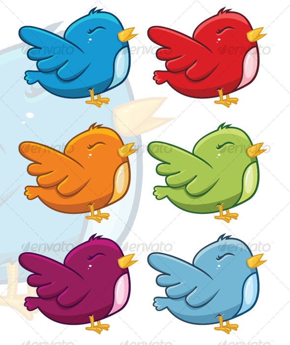 Vector cute Twitter birds - Animals Characters