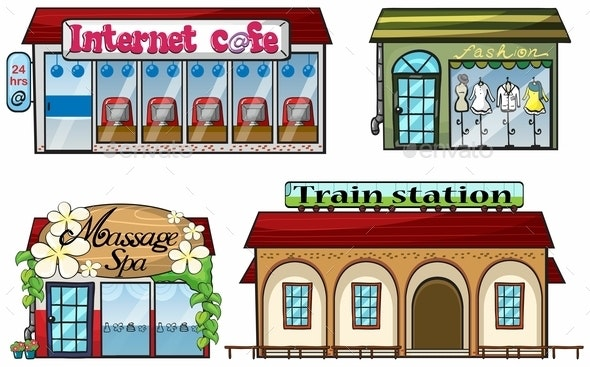 Various Shops and a Train Station - Buildings Objects