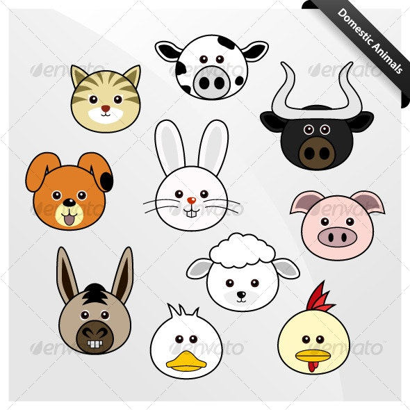 Domestic Animal Cute Cartoon - Animals Characters