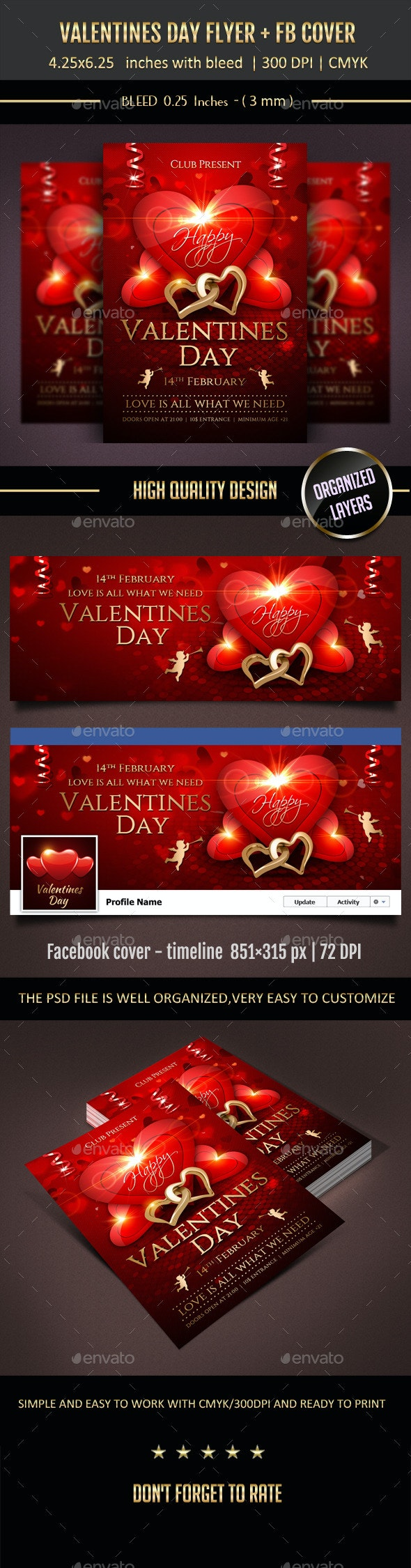 Valentines Day Flyer + Facebook Cover! - Events Flyers