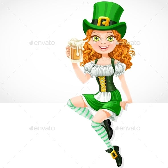 Girl Leprechaun Sitting on a Banner