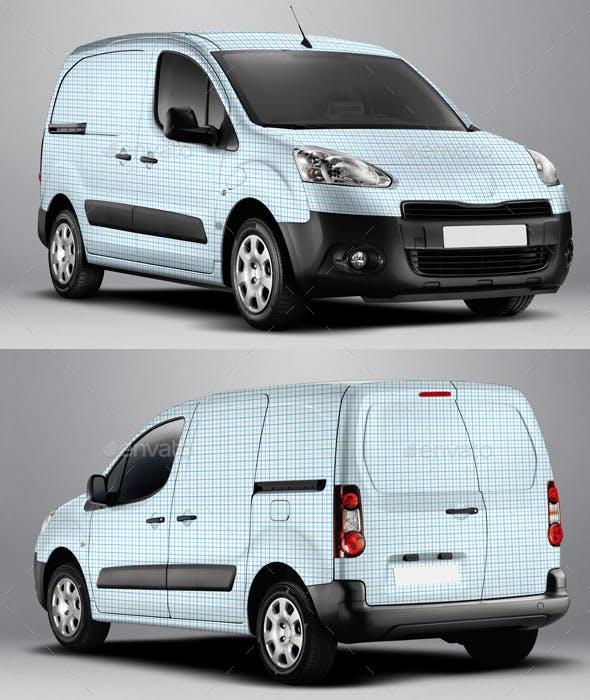 663b4615f4 2014 Peugeot Partner Electric Van Wrap Mockup by Pascau