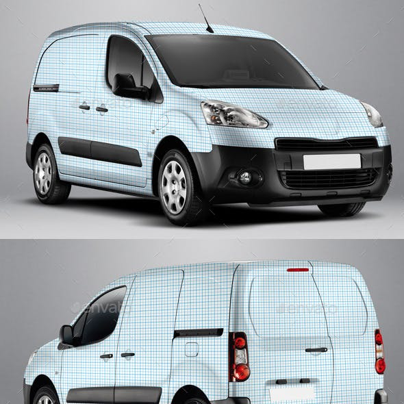 2014 Peugeot Partner Electric Van Wrap Mockup