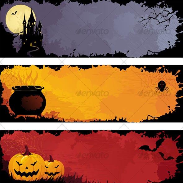 Grunge halloween banners, set 1