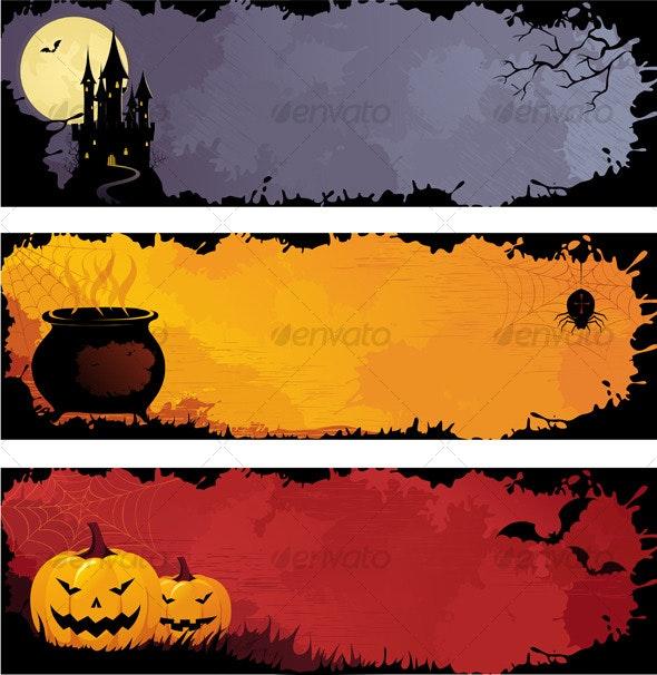 Grunge halloween banners, set 1 - Halloween Seasons/Holidays