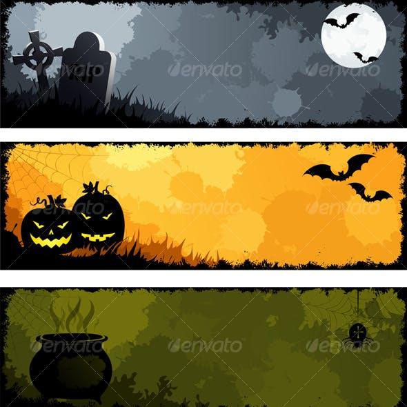 Grunge halloween banners, set 2