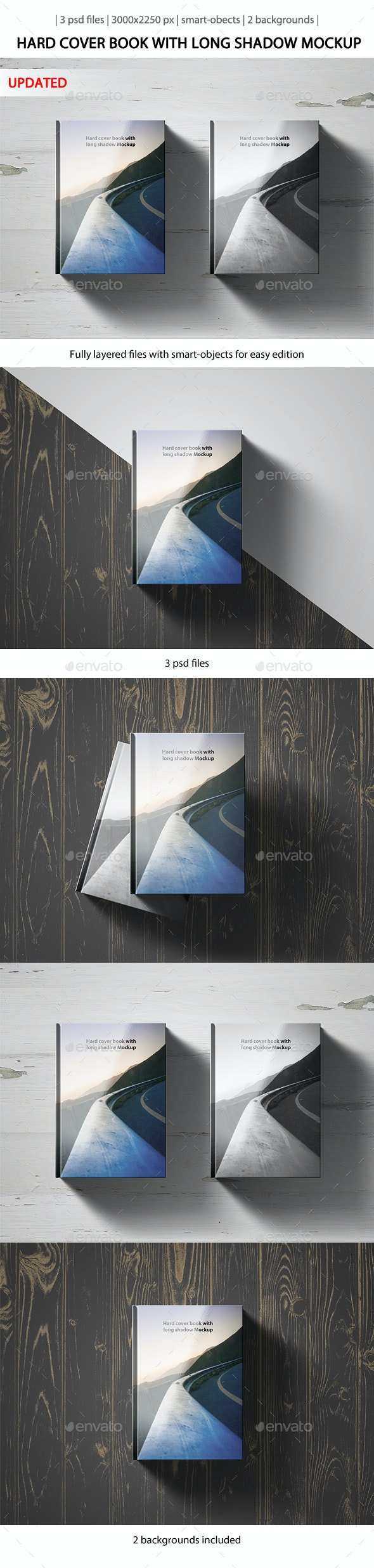 Hard Cover Book with Long Shadow Mockup - Books Print