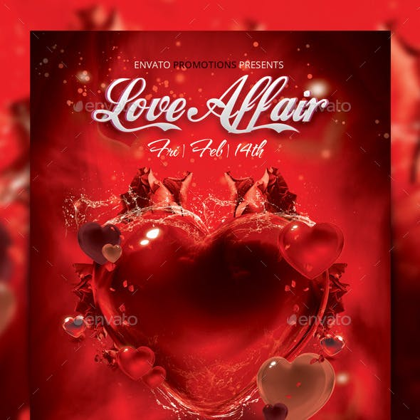 Love Affair Valentines Party Flyer Template