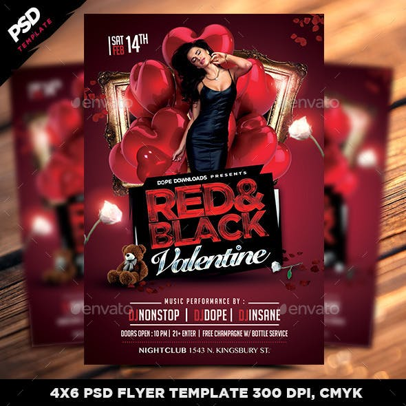 Red & Black Valentine Flyer Template