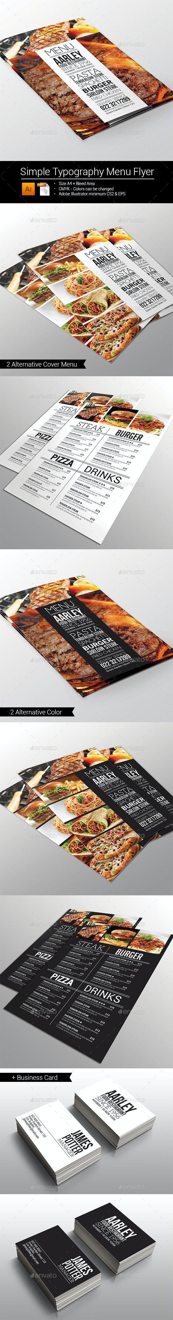 Simple Typography Menu Flyer - Food Menus Print Templates