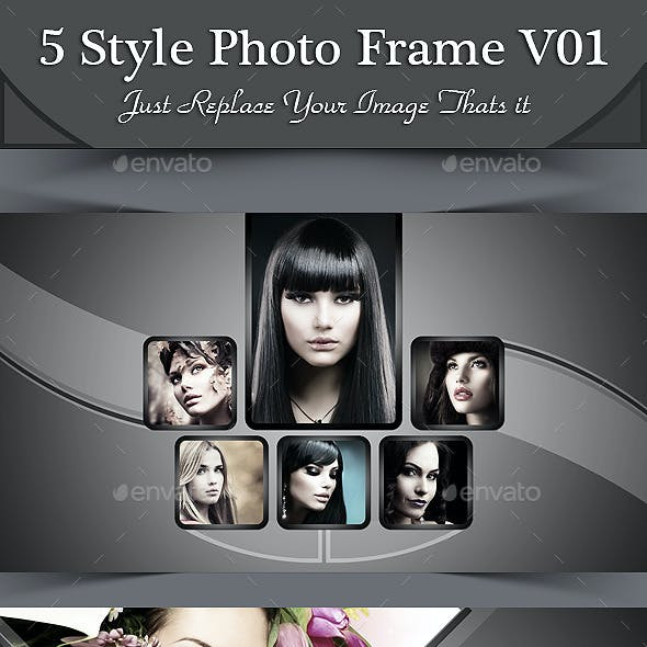 5 Style Photo Frame Template V01