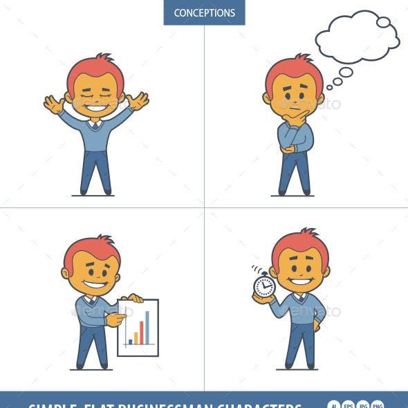 Set of Flat Businessman Characters