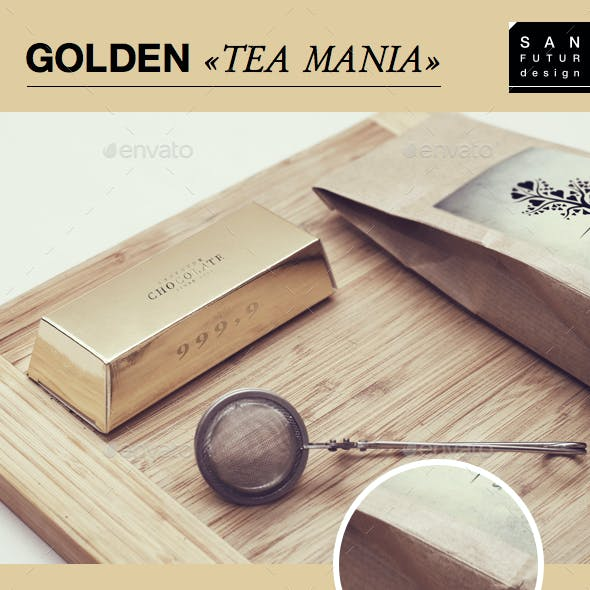 Golden «Tea Mania» Packaging Mock-Up