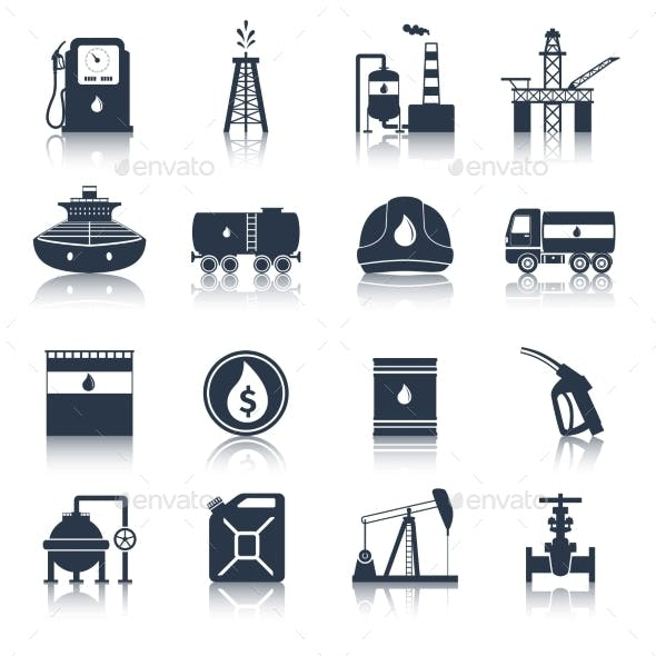 Oil Industry Icons Black
