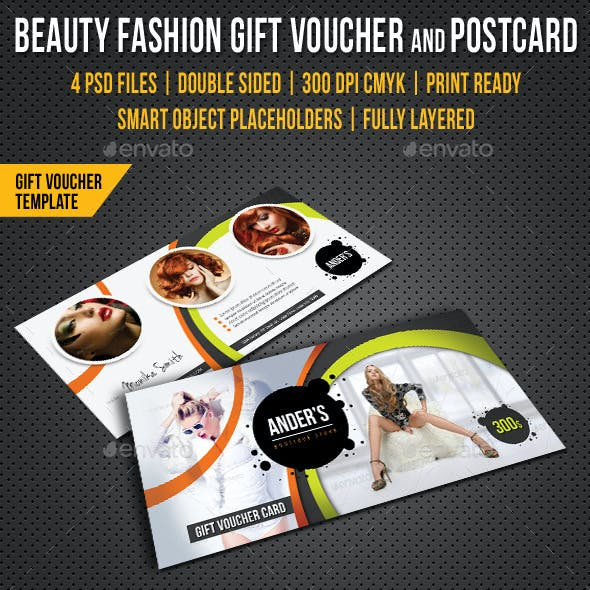 Beauty Fashion Gift Voucher and Postcard Templates