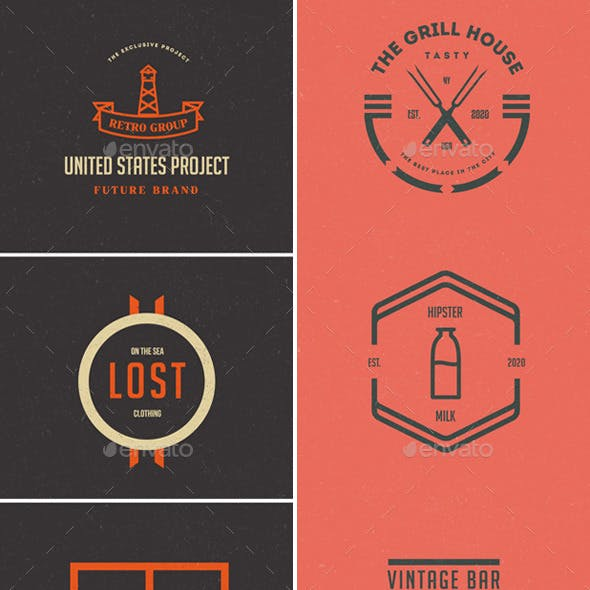 87 Vintage Labels & Badges Logos Bundle