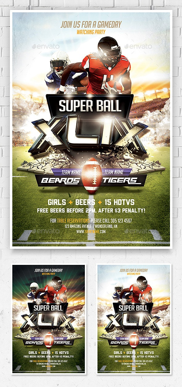 Super Ball Football Flyer Template - Sports Events