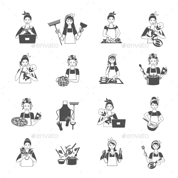 Housewife Black Set - Web Elements Vectors