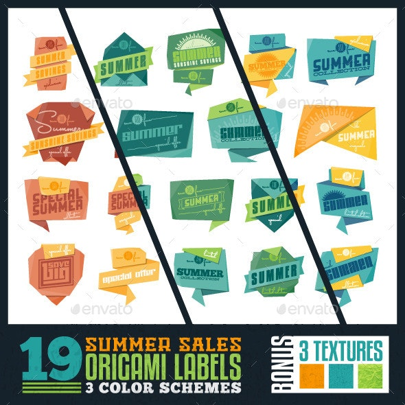 Summer Sale Origami Labels - Commercial / Shopping Conceptual