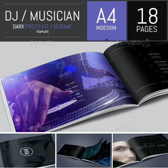 Dj and Musician Dark Press Kit / Resume Template