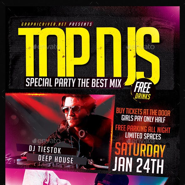 Top DJS Special Party   Flyer Template PSD